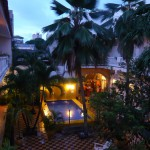 The atrium of the hostel.