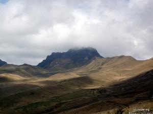 The Pichincha in clouds.