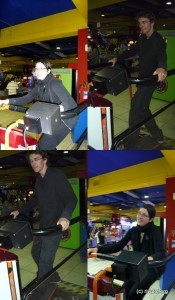 Skateboarding in the amusement arcade :-)