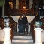 Claudia and I in front of the bar. Impressive villa.