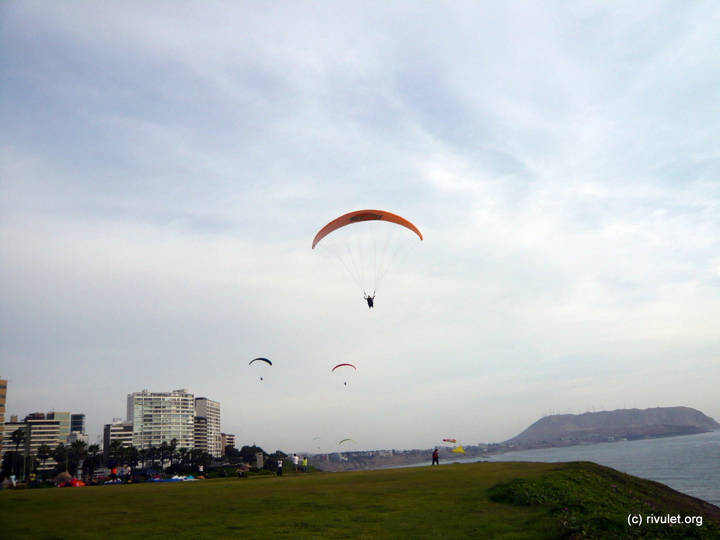 Paragliders at the seashore.
