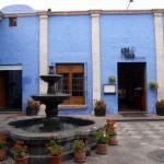 A blue patio.