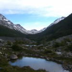 Small ponds aside the end end moraine of glacier Los Perros.