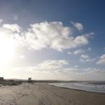 Blue sky over the beach.