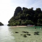 Speed boat trip to Hong Island: First stop at Pakbia Island.
