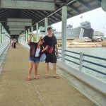 At the Krabi ferry terminal with Vivi.