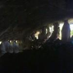 Limestone cave with stalactites and stalagmites.