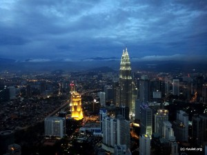 Petronas Twin Towers seen from the KL Tower.