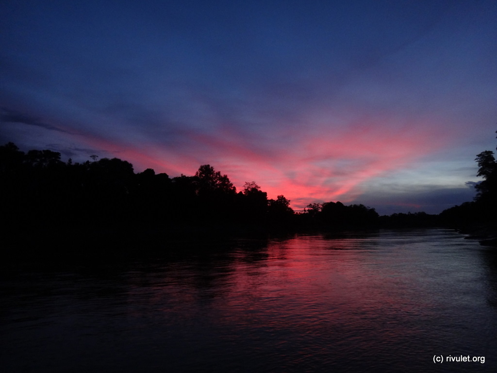 Sunset over Kinabatangan river.