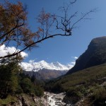 Views of the Manaslu mountain range in between.