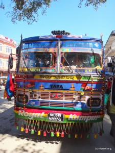 Colorful buses on the way to Dhading Besi.