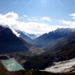 View back into the valley (with Manaslu glacier and glacier lake).