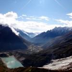 View back into the valley (with Manaslu glacier and glacier lake).