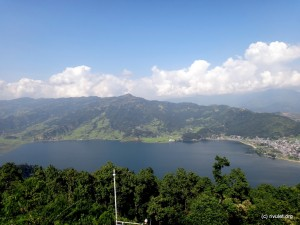 View over the lake and the Annapurna mountain range (behind the clouds ;-)