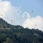 Paragliders and big mountain.