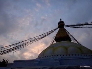 Dawn at the stupa.