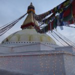 At dawn, the stupa gets lit..