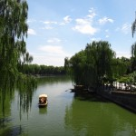 Boat on the lake at Beihai Park.
