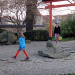 A four year old girl running(!) in a ZEN garden :-o