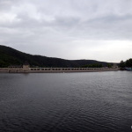 Edersee dam seen from the lake.