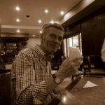My father tasting the famous and delicious Pisco Sour.